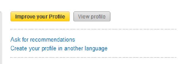 LinkedIn Improve Profile button
