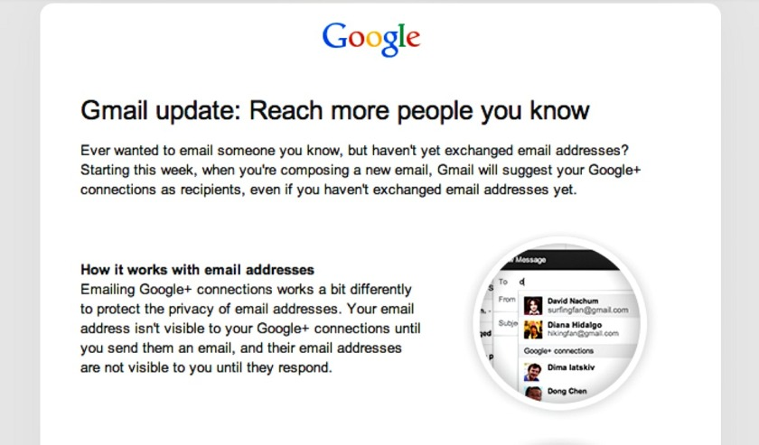 Gmail to allow contacting people circled on Google+