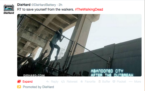 Die Hard Walking Dead Twitter promoted post