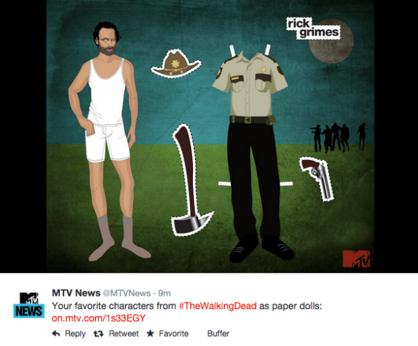 MTV's Twitter post for The Walking Dead